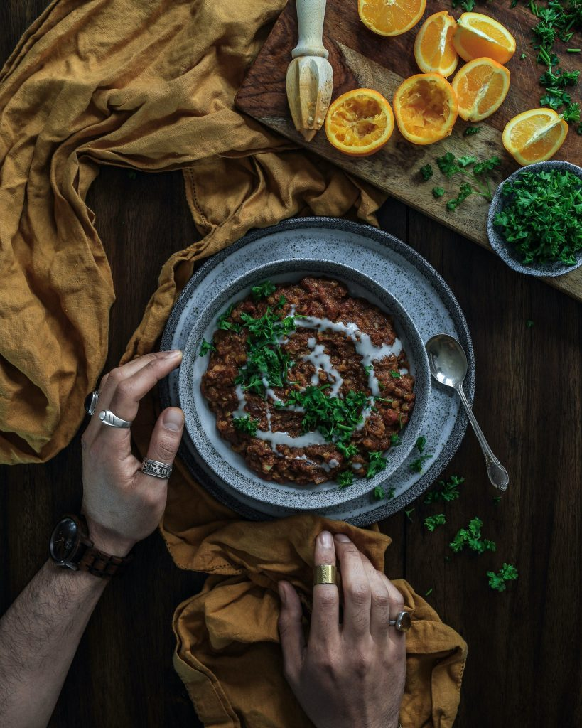 Dahl made from Lentils with a squeeze of lemon and a sprinkle or corriander